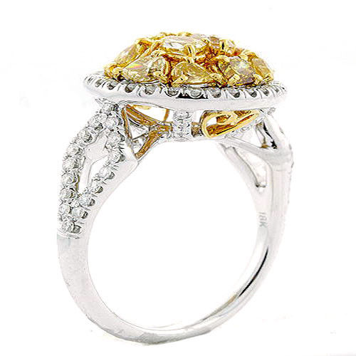 2.07ct Natural Fancy Intense Yellow Diamonds Engagement Ring 18K Solid Gold 9G