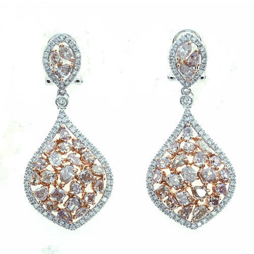 5.18ct Fancy Pink Diamonds Earrings 18K All Natural 11 Grams Rose Gold Mix SI1