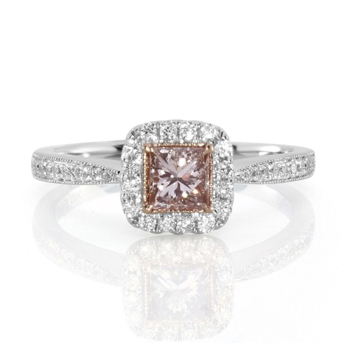 Real 0.71ct Natural Fancy Pink Diamonds Engagement Ring 18K Solid Gold Princess