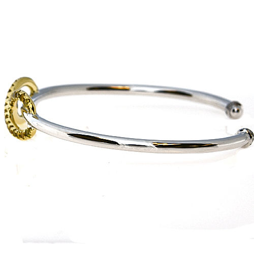 Real 0.76ct Natural Fancy Yellow Diamonds Bracelet Bangle 18K Solid Gold 15G