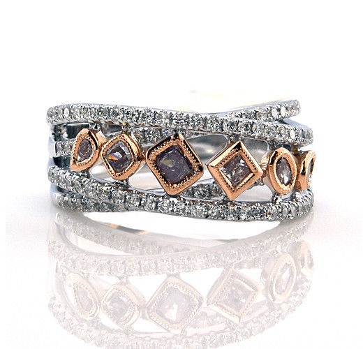Real 1.18ct Natural Fancy Pink Diamonds Engagement Ring 18K Solid Gold 7G