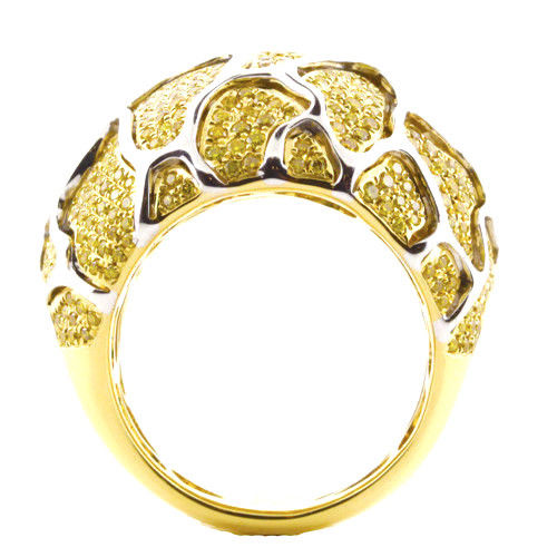 Real 1.42ct Natural Fancy Yellow Diamonds Engagement Ring 18K Solid Gold 17G