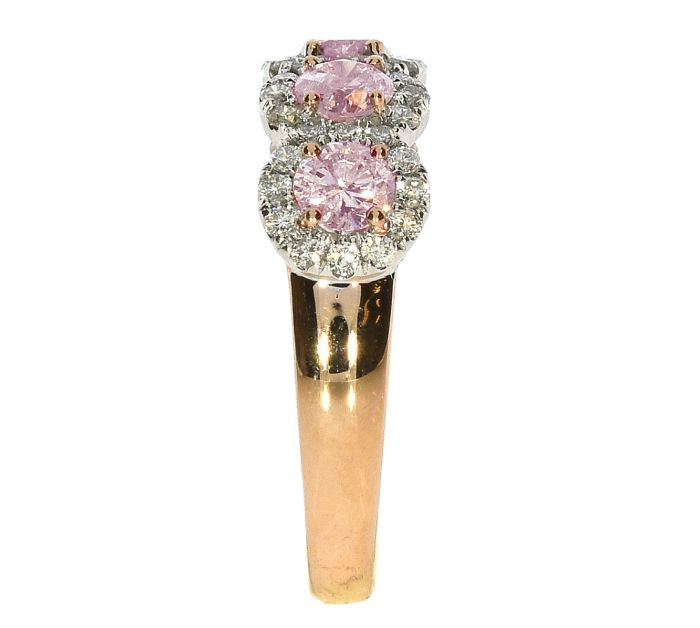 Real 1.65ct Natural Fancy Pink Diamonds Engagement Ring 18K Solid Gold 5G Rounds