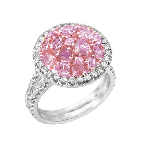 Real 2.46ct Natural Fancy Pink Diamonds Engagement Ring 18K Solid Gold Band