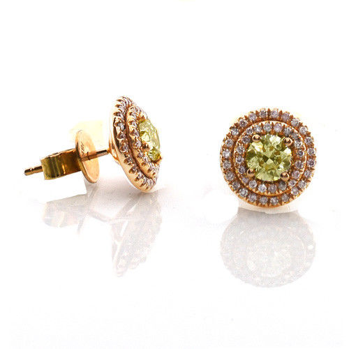 Real Fine 1.49ct Fancy Yellow & Pink Diamonds Earrings 18K All Natural Stud Gold