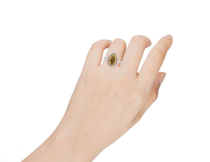 Real Fine 1.94ct Engagement Ring Natural Fancy Yellow 18K Solid Gold SI1-VS2