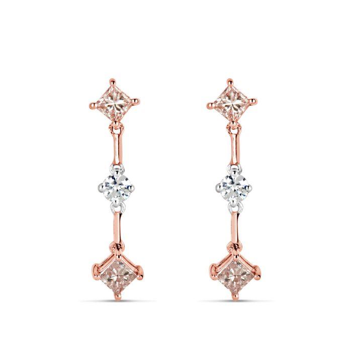 0.85ct Fancy Pink Diamonds Earrings 18K All Natural 2 Grams Real Gold Princess