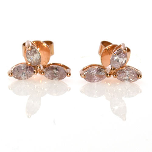 1.35ct Fancy Pink Diamonds Earrings 18K All Natural 2.5 Grams Rose Gold Marquise