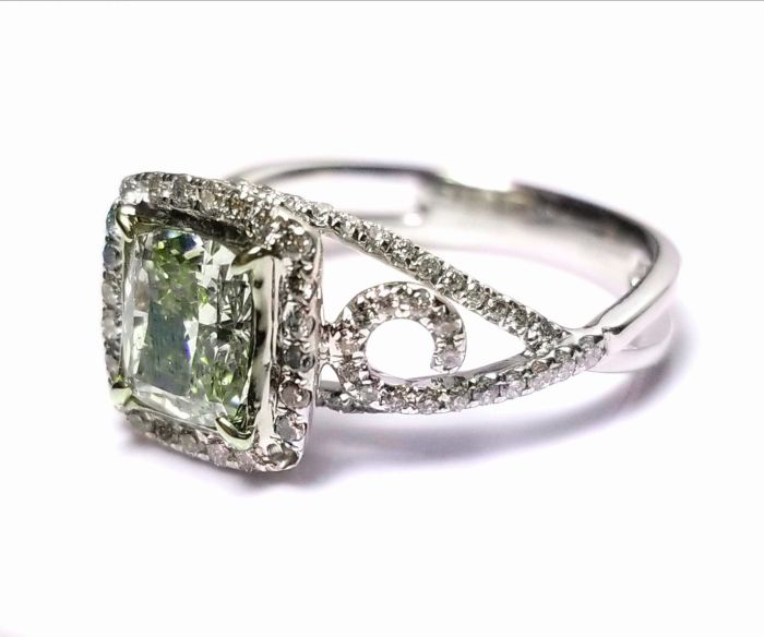 1.73ct Natural Fancy Green Diamond Engagement Ring GIA 18K White Gold Cushion