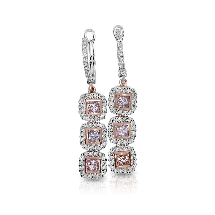 Real Fine 1.85ct Fancy Pink Diamonds Earrings 18K All Natural 7 Grams Rose Gold