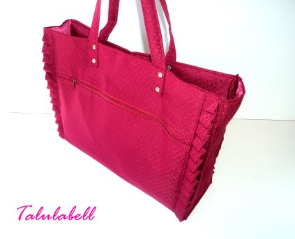 Maroon Ruffle Tote Bag Php. 480.00 *Top View