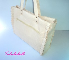 White Ruffle Tote Bag Php. 480.00*Top View