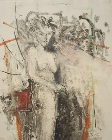 ArachnéeMonotype, pastel gras et mine noire sur papier -  32x24 cm - 2020