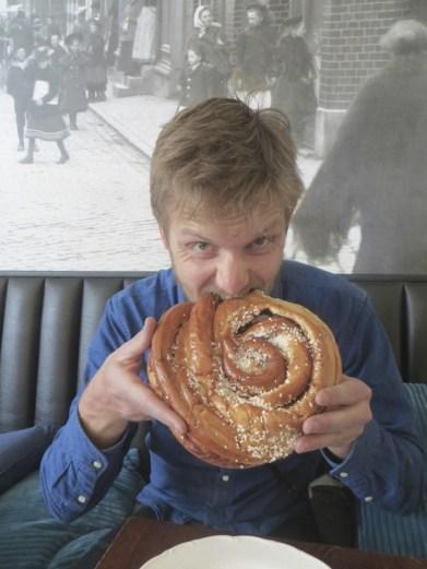 Mitch and his massive cinnamon bun