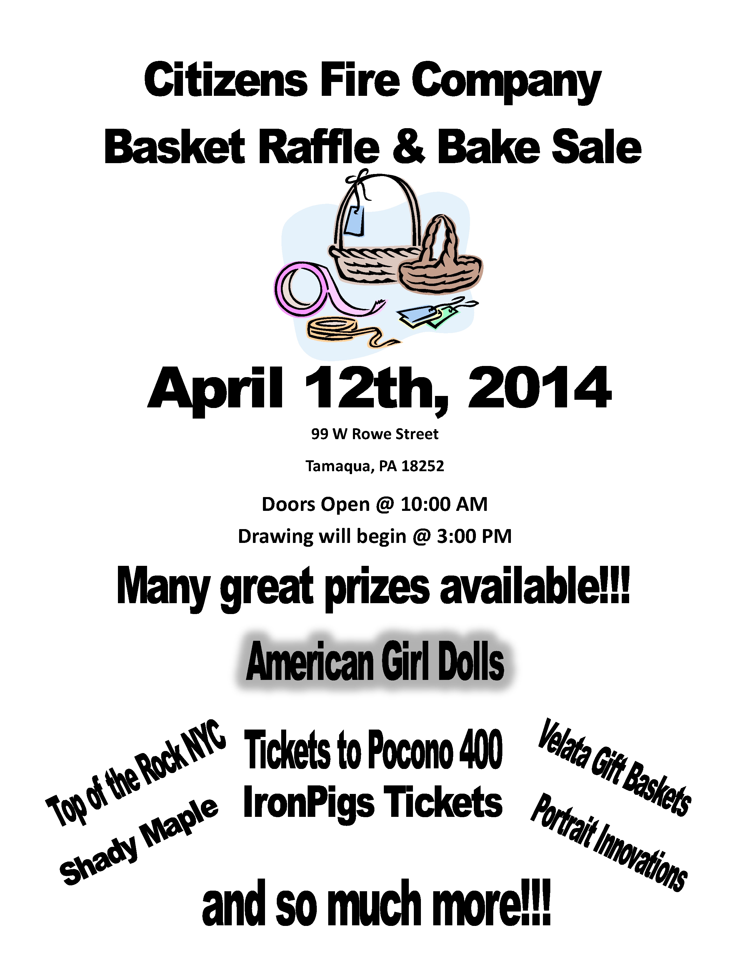 CHINESE AUCTION AND RAFFLE SATURDAY AT CITIZENS FIRE