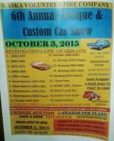 10-3-2015, Antique, Custom Car Show, Chinese Auction, Food Sale, Kaska Volunteer Fire Company, Kaska