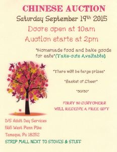 9-19-2015, Chinese Auction, D S Adult Day Services, 565 West Penn Pike, South Tamaqua