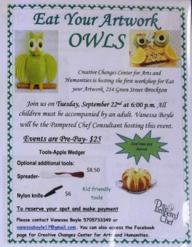 9-22-2015, Eat Your Artwork, Owl, Creative Changes Center, Brockton