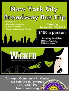 9-26-2015, New York City Broadway Bus Trip, Wicked, via TCAC, 570-668-1192, Tamaqua