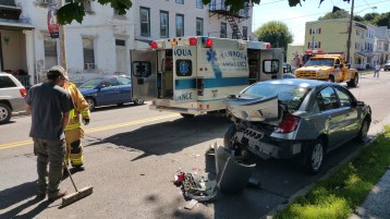 Woman Taken to Hospital After Rear Ending Parked Car, West Broad Street, Tamaqua, 8-21-2015 (1)