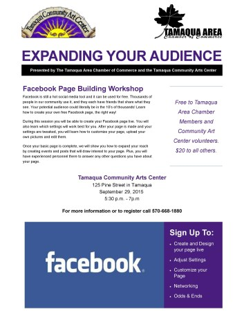 9-29-2015, Facebook Page Building Workshop, Training, via Chamber, Tamaqua Community Arts Center, Tamaqua-page-001