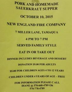 10-10-2015, Pork & Homemade Sauerkraut Dinner, New EnglandWalker Township Fire Company, Tamaqua