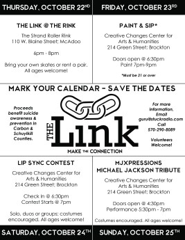 10-22, 23, 24, 25-2015, The Link Events, McAdoo and Brockton