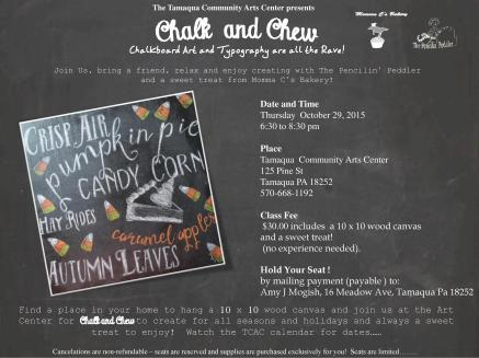 10-29-2015, Chalk and Chew, Tamaqua Community Arts Center, Tamaqua