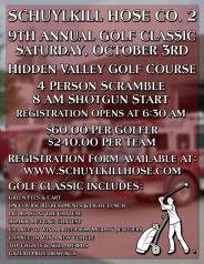 10-3-2015, 9th Annual Golf Classic, Hidden Valley Golf Course, Pine Grove