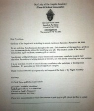 11-14-2015, Chinese Auction, Donation Request Letter, Our Lady of Angels Academy, Lansford