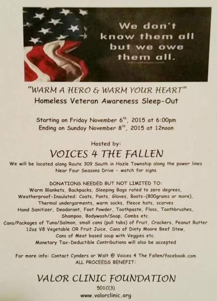 11-6 to 11-8-2015, Homeless Veteran Awareness Sleep-Out, Warm A Hero - Warm Your Heart, Hazle Township