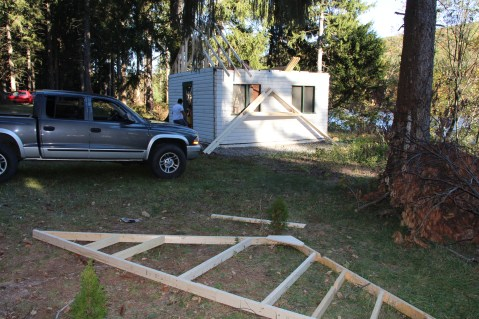 Building a Cabin from Camp Brainerd, Lower Owl Creek Reservoir, Tamaqua, 10-11-2015 (1)