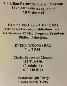 Christian Recovery 12-Step Program, Every Wednesday, Christ Redeemer Church, Coaldale