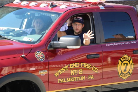 Parade for New Fire Station, Pumper Truck, Boat, Lehighton Fire Department, Lehighton (420)