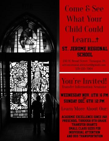 11-11, 12-6-2015, Transfer Information Sessions, St Jerome Regional School, Tamaqua