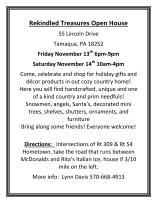 11-14-2015, Open House, Rekindled Treasures, 55 Lincoln Drive, Hometown, Tamaqua