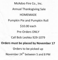 11-17-2015, Last Day to Order Homemade Pumpkin Pie or Pumpkin Roll, McAdoo Fire Company, McAdoo