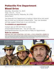 11-21-2015, Fire Company Blood Drive, ,Geissinger Blood Drive,, 200 Humane Avenue, Pottsville