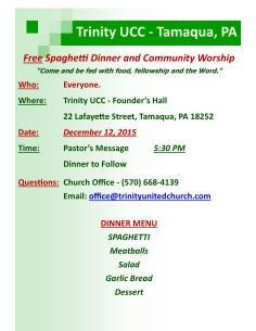 12-12-2015, Free Spaghetti Dinner and Community Worship, Trinity UCC, Tamaqua