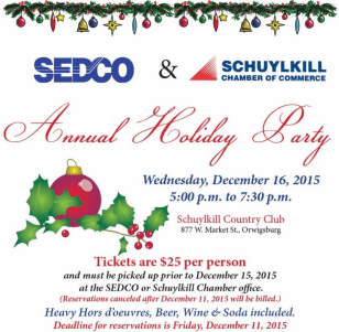 12-16-2015, SEDCO and Schuylkill Chamber of Commerce Annual Holiday Party, Schuylkill Country Club, Orwigsburg