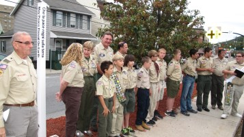Peace Pole Dedication, Tamaqua Boy Scout, Train Station lot, Tamaqua, 9-21-2015 (10)