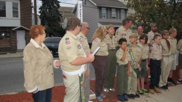 Peace Pole Dedication, Tamaqua Boy Scout, Train Station lot, Tamaqua, 9-21-2015 (14)