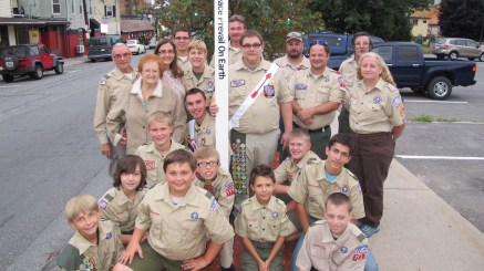 Peace Pole Dedication, Tamaqua Boy Scout, Train Station lot, Tamaqua, 9-21-2015 (19)