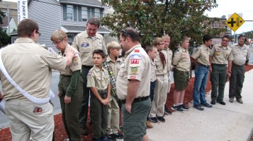 Peace Pole Dedication, Tamaqua Boy Scout, Train Station lot, Tamaqua, 9-21-2015 (8)