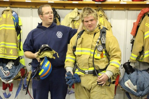 Tamaqua Salvation Army Youth Group Visits South Ward Fire Company, Tamaqua, 10-8-2015 (63)