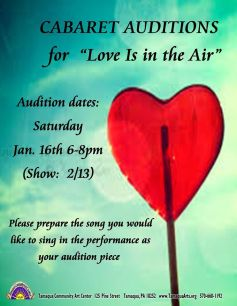 1-16-2016, Auditions, Performance of Love Is In The Air, Tamaqua Community Arts Center, Tamaqua