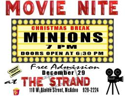 12-29-2015, Movie Nite, Minions, Christmas Break, Free Admission, The Strand Roller Rink, McAdoo