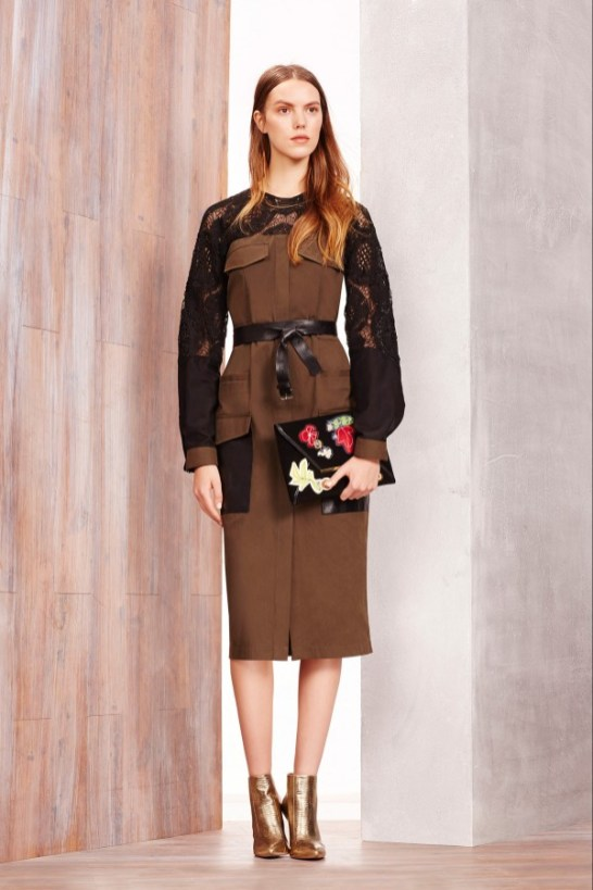 BCBG Max Azria Khaki Pencil Dress - Pre-Fall 2015