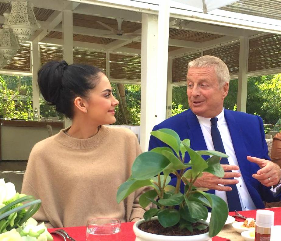 Tamara Al Gabbani having a lovely chat with Christian Courtin-Clarins