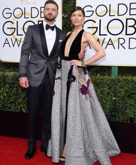 Justin Timberlake in Tom Ford and Jessica Biel in Elie Saab Golden Globes 2017